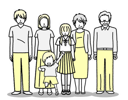 Standing Family Illustration (3 generations)