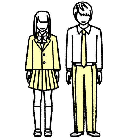Standing High School Students Men and Women  イラスト・ベクター素材