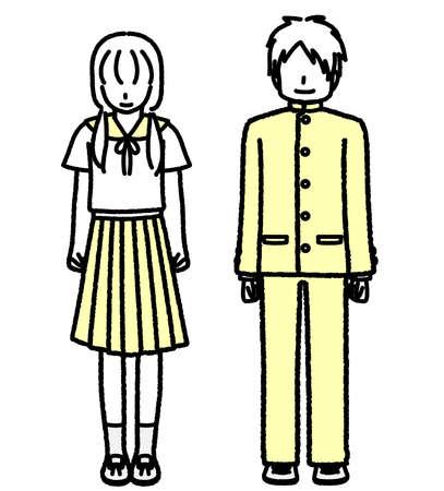 Standing Junior High School Students Men and Women  イラスト・ベクター素材