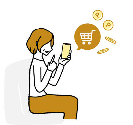 Senior woman enjoying online shopping with smartphone  イラスト・ベクター素材