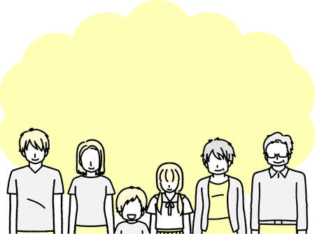 Image of 3 generations of family  イラスト・ベクター素材