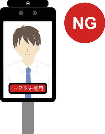 NG example because there is no non-contact automatic temperature detector (thermal camera) mask