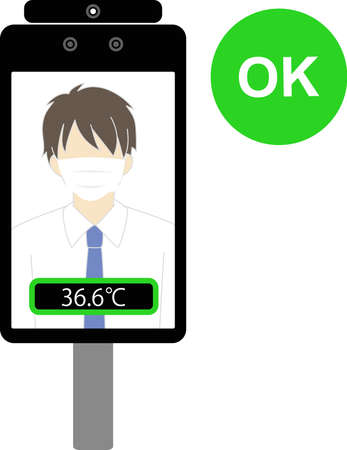 Non-contact automatic temperature detector (thermal camera) OK example  イラスト・ベクター素材