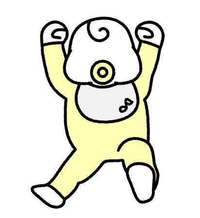 A cheerful newborn baby lying on his back with a pacifier  イラスト・ベクター素材