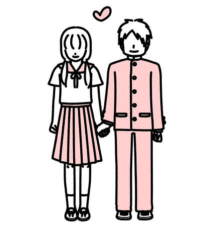 Junior high school couple standing hand in hand  イラスト・ベクター素材