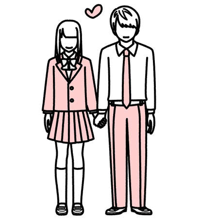 High school couple standing hand in hand  イラスト・ベクター素材