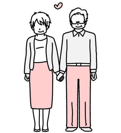 Grandpa and grandma standing hand in hand  イラスト・ベクター素材