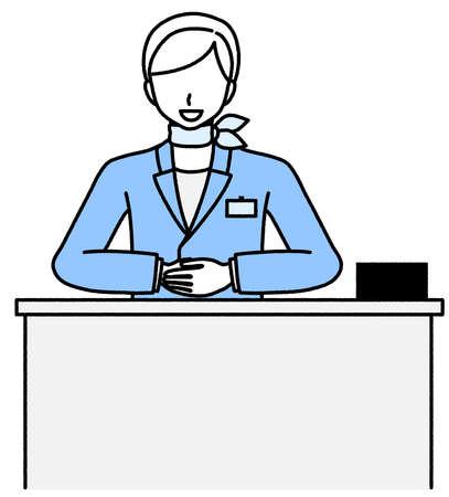 Woman greeting at reception  イラスト・ベクター素材