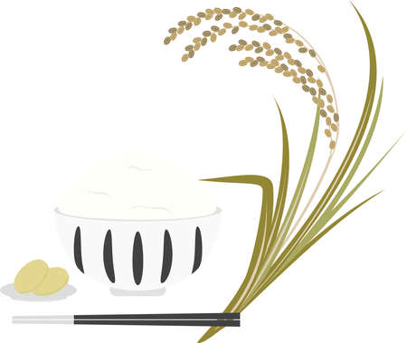 Illustration of rice, rice and pickles