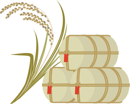 Illustration of rice bales and rice