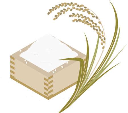 Illustration of rice in rice and masu  イラスト・ベクター素材