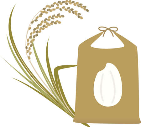 Illustration of rice bag and rice