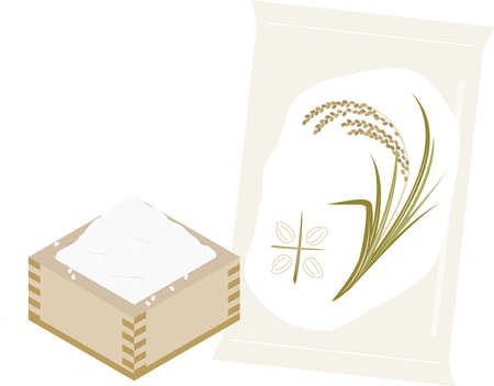 Illustration of rice in a rice bag and a square