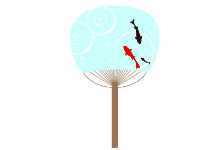 Illustration of a cool uchiwa with a goldfish pattern  イラスト・ベクター素材
