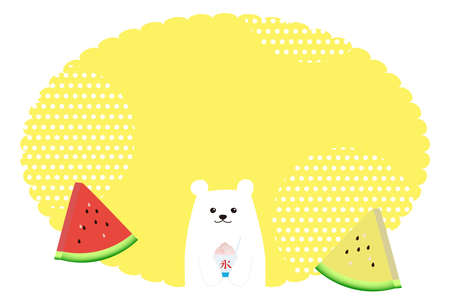 Summer image background with white bear, watermelon and shaved ice  イラスト・ベクター素材