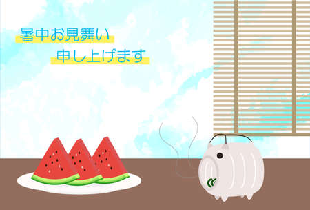 Watermelon, curtain and pig mosquito repellent incense template in the heat  イラスト・ベクター素材