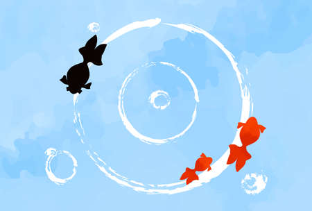 Summer image background with goldfish and ripples  イラスト・ベクター素材