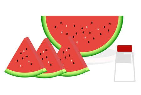 Watermelon and salt illustration