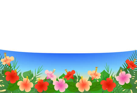 Illustration of a beach with hibiscus