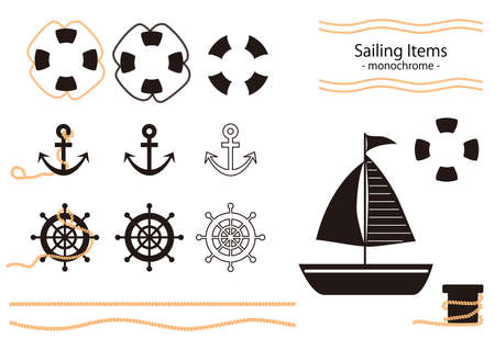 Illustration depicting yacht and related item parts  イラスト・ベクター素材