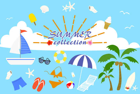 Illustration depicting summer items