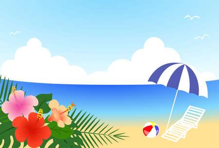 Illustration of resort beach with hibiscus  イラスト・ベクター素材
