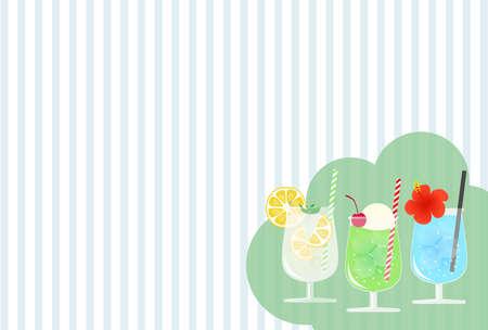 Background illustration of melon soda, lemon soda and soda in glass