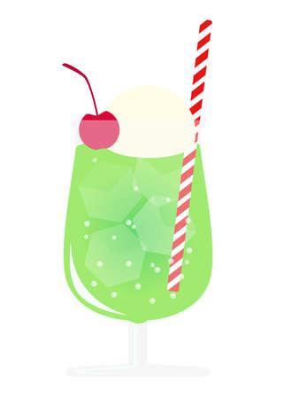 Melon soda float in glass