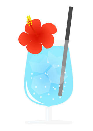 soda with flowers in a glass