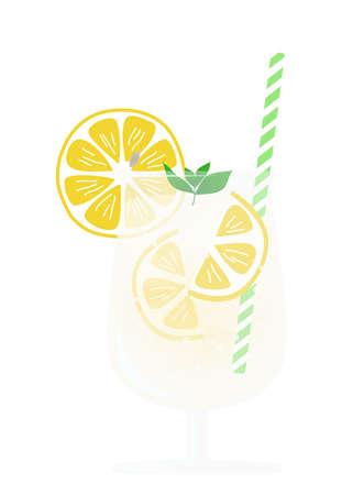 lemon soda with mint in a glass