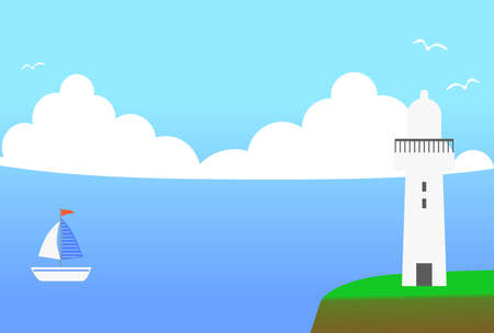Background illustration of the view with lighthouse  イラスト・ベクター素材