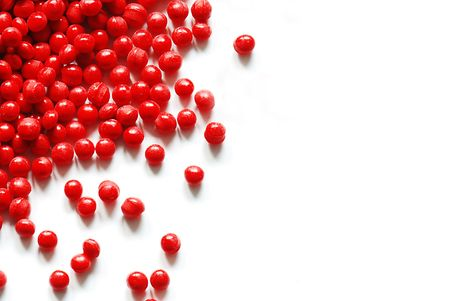 Red plastic granulate photo