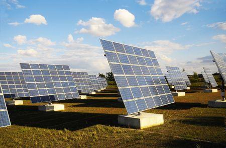 feld: Solarpanels auf dem Feld in der Abendsonne Stock Photo