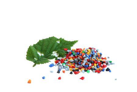 pellets: Regrind with damaged leaf Stock Photo