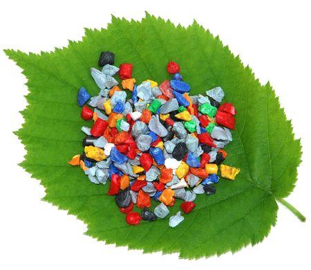 pellets: Regrind on fresh leaf Stock Photo