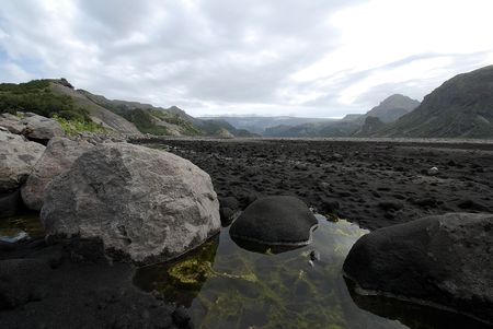 In the valley of Eyjafjallajokull in Iceland photo