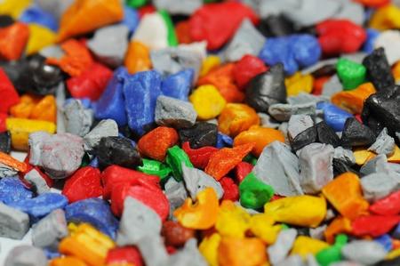 materia prima: pol�mero te�ido proporcionar�an despu�s molido
