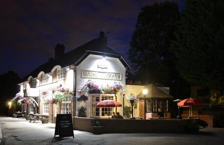 curfew: Pub in Hampshire, England during night