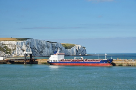 dover: freighter waiting in the harbour of Dover, Southengland. Editorial