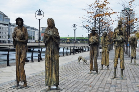 famous Famine Memorial in Dublin due to hunger crisis between the years 1845 and 1852