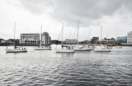 liffey: Sailing Regatta on river Liffey in Dublin, Ireland Editorial