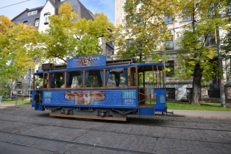 electric power station: old tram in Riga, capital town of Latvia