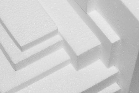 polystyrene: stacked white polystryrene sheets for damping