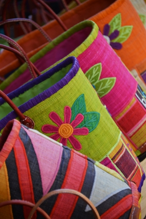 colourfully: coloured bags on market in Provence, France