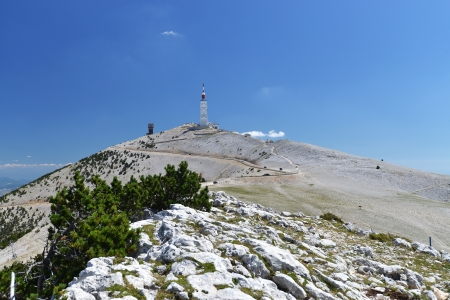 peak of Mont Ventoux in Provence, South France  Finish area of Tour-de-France stage 免版税图像