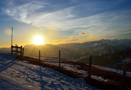 Sunrise over famous mountain Rigi Alp, Alps, Switzerland, photo