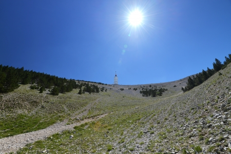 famous mountain Mont Ventoux in Provence, south France  Finish from one stage of Tour de France Stock Photo