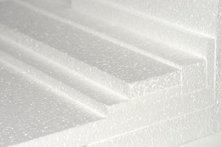 damping: several white polystyrene sheets for damping and packaging