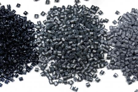 galvanize: 3 different gray metallic polymer resins on white background Stock Photo