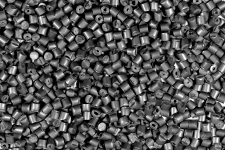 close up of gray metallic polymer resin in laboratory Banque d'images
